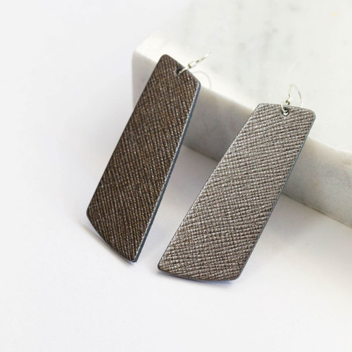 Gunmetal Gem Leather Earring | Nickel and Suede