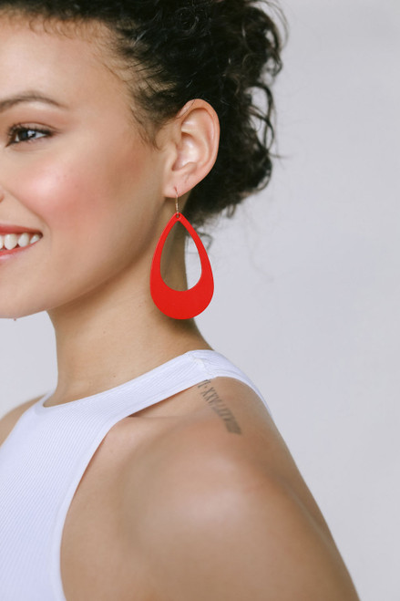 Select Crimson Cut-Out Leather Earrings
