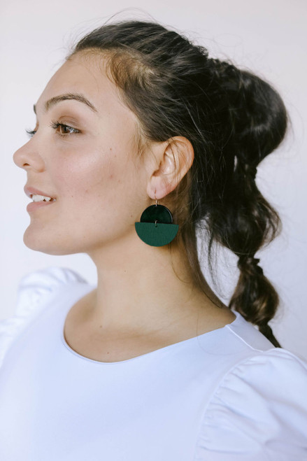 Spruce Luna Leather Earrings | Nickel and Suede