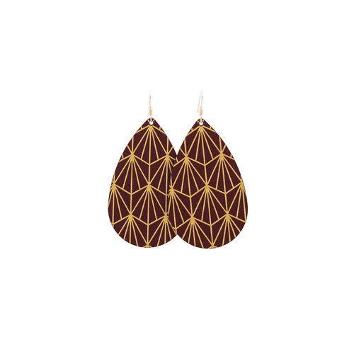 Select Burgundy & Gold Nouveau Leather Earrings
