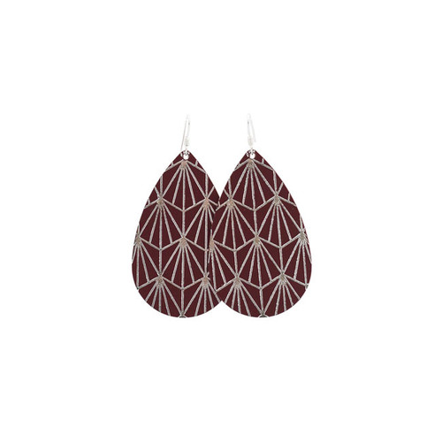 Select Burgundy & Silver Nouveau Leather Earrings
