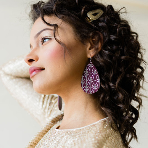 Select Burgundy & Silver Nouveau Leather Earrings