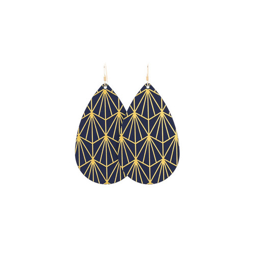 Select Navy & Gold Nouveau Leather Earrings