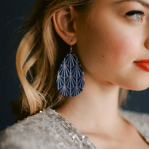 Select Navy & Silver Nouveau Leather Earrings