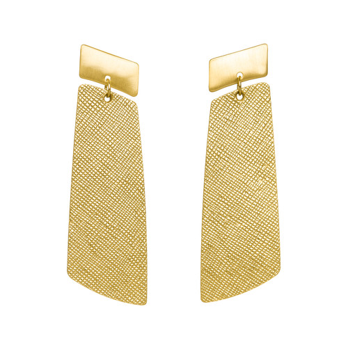 Gold Leaf Gem Drop Statement Leather Earring | Nickel and Suede