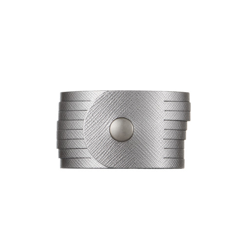 Gunmetal Slit Leather Cuff | Nickel and Suede