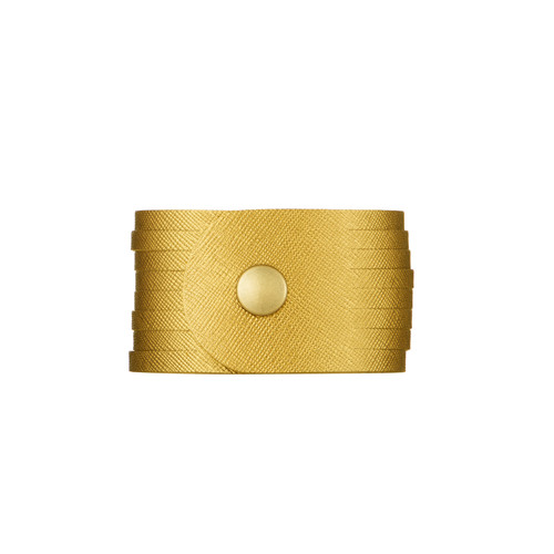 Gold Leaf Slit Leather Cuff | Nickel and Suede