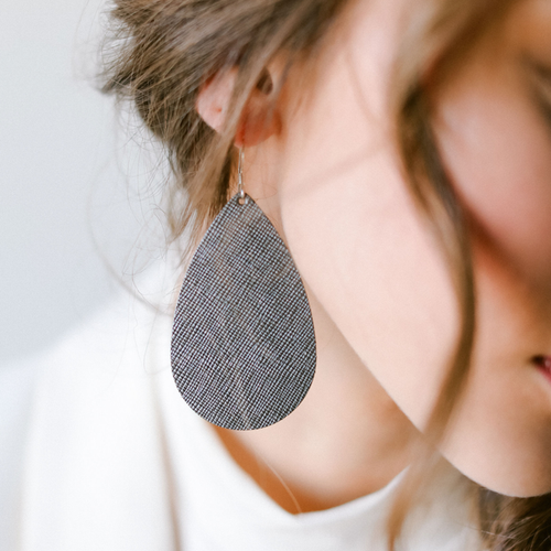 Tinsel Leather Earrings