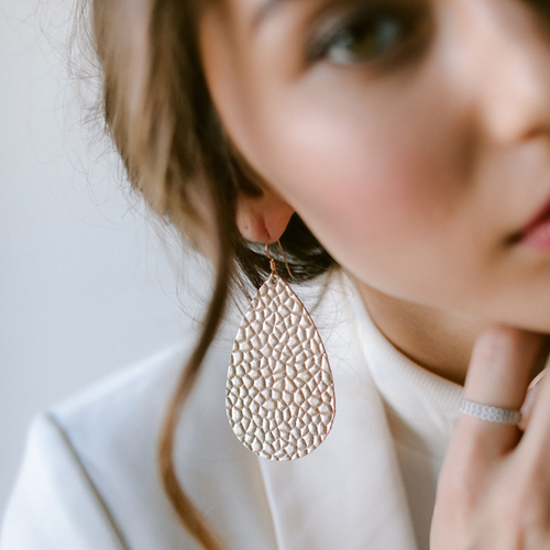 Champagne Toast Leather Earrings