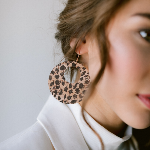 Cheetah Cork Nova Leather Earrings