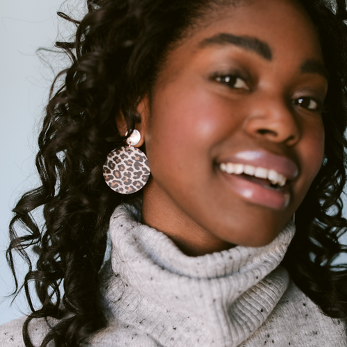 Snow Leopard Disc Leather Earring | Nickel and Suede