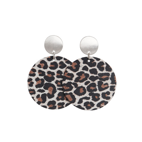 Snow Leopard Disc Statement  Leather Earring   Nickel and Suede