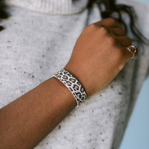 Snow Leopard Thin Leather Cuff | Nickel and Suede