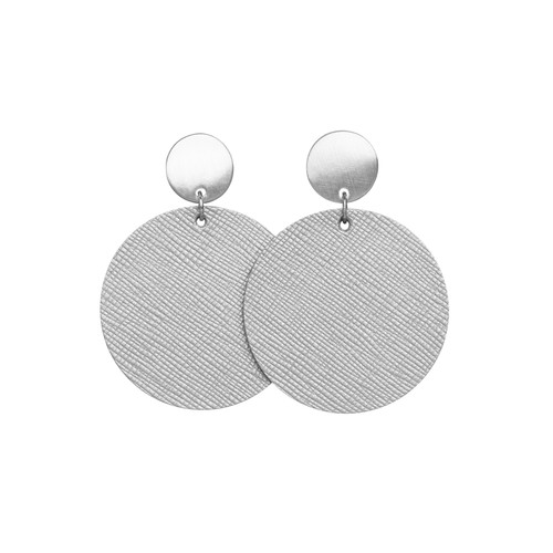 Silver Leaf Disc with Round Post | Nickel and Suede