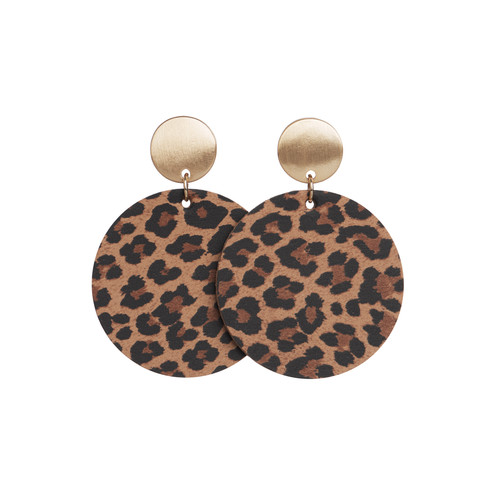 Spotted Leopard Disc Statement Leather Earrings | Nickel and Suede