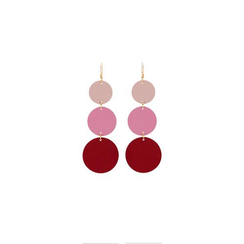 Dottie Ombre Pink Statement Leather Earrings