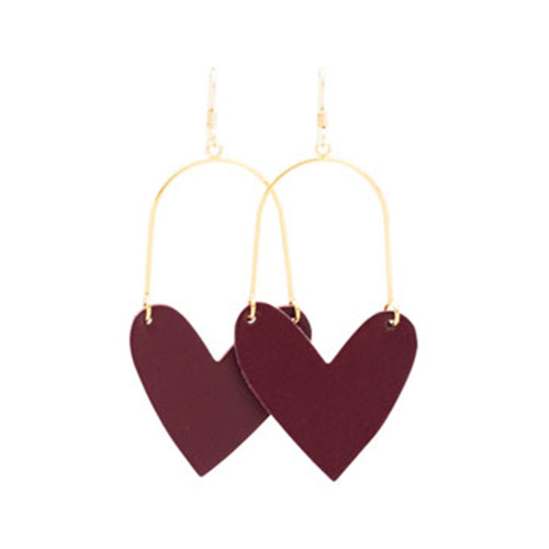 Sweetheart Hoop Select Burgundy Leather Earrings