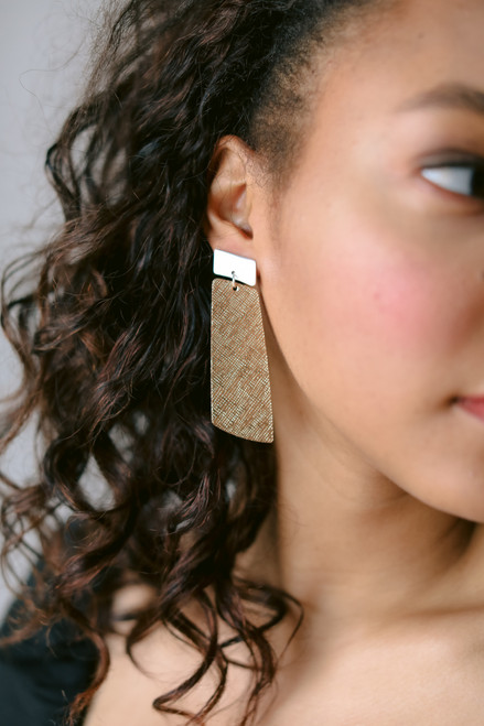 Mixed Metal Gem Drop Statement Leather Earring | Nickel and Suede