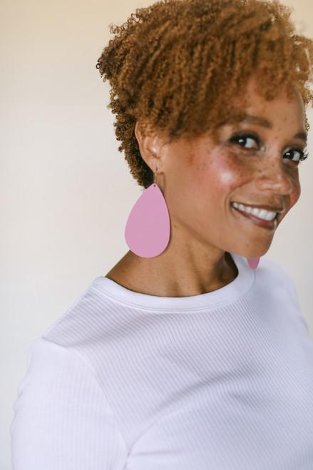 Cupid Teardrop Leather Earring | Nickel and Suede
