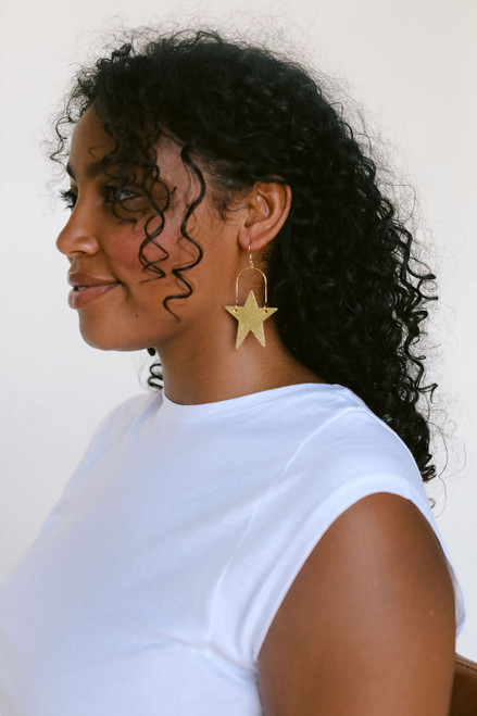 Superstar Gold Leather Earrings