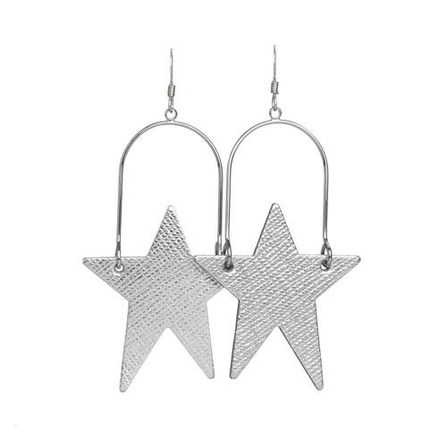 Silver Leaf Superstar Hoop Leather Earring | Nickel and Suede