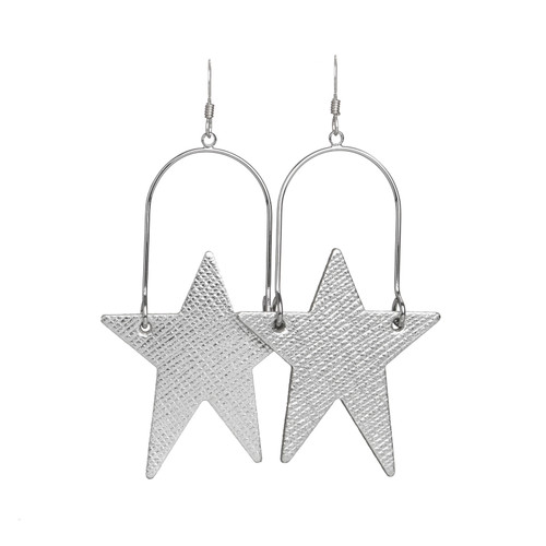 Silver Leaf Superstar Hoop Leather Earring | Nickel and Suede