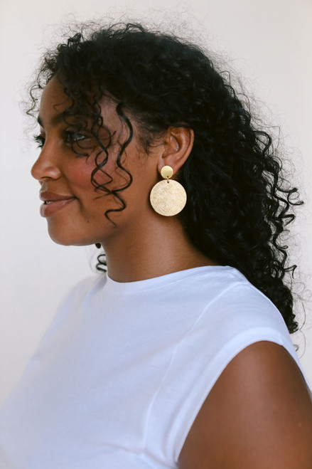 Gold Leaf Disc Statement Leather Earrings with Round Post