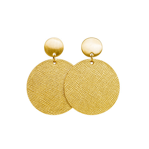 Gold Leaf Disc Leather Earring   Nickel and Suede