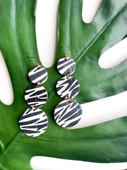 Dottie Zebra Cork Statement Leather Earrings
