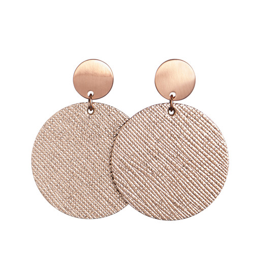 Rosé Disc Leather Earring | Nickel and Suede