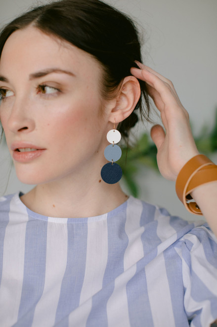 Dottie Denim Ombre Statement Leather Earrings