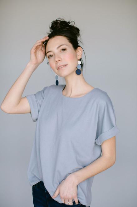 Dottie Denim Ombre Statement Leather Earrings