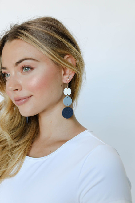 Denim Ombre Dottie Leather Earrings | Nickel and Suede