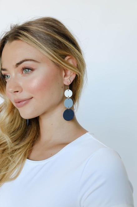 Denim Ombre Dottie Leather Earrings | Nickel and Suede