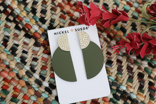 N&S Select Olive Demi Leather Statement Earrings