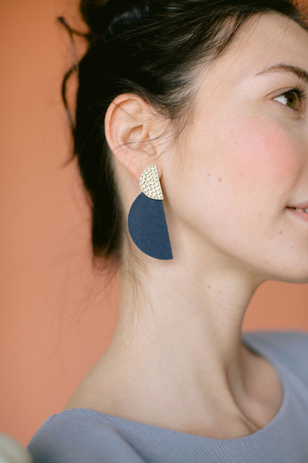 Navy Baby Demi Statement Leather Earrings | Nickel and Suede