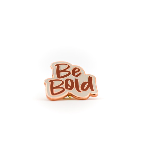 Be Bold Statement Pin | Nickel & Suede