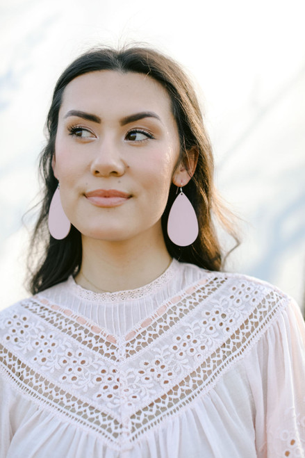 Soft Rose Leather Earring