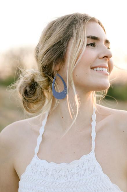 Cornflower Cut-Out Leather Earring