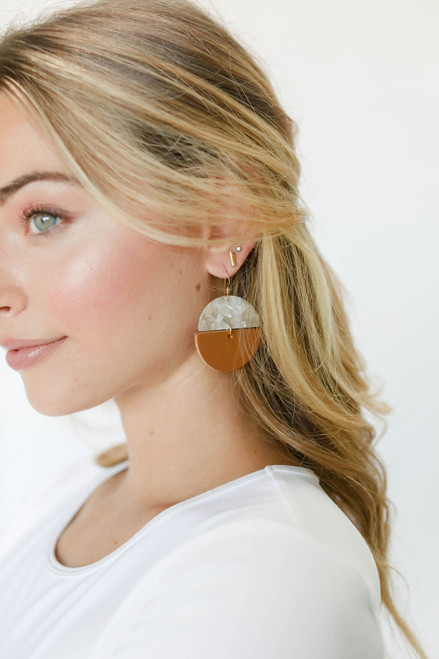London Tan Luna Leather Earring