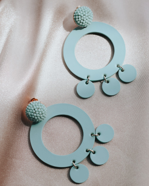 Mint Holland Hoop Leather Statement Earring | Nickel and Suede