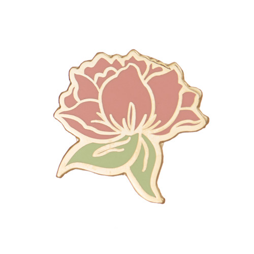 Soft Rose Statement Pin | Nickel and Suede