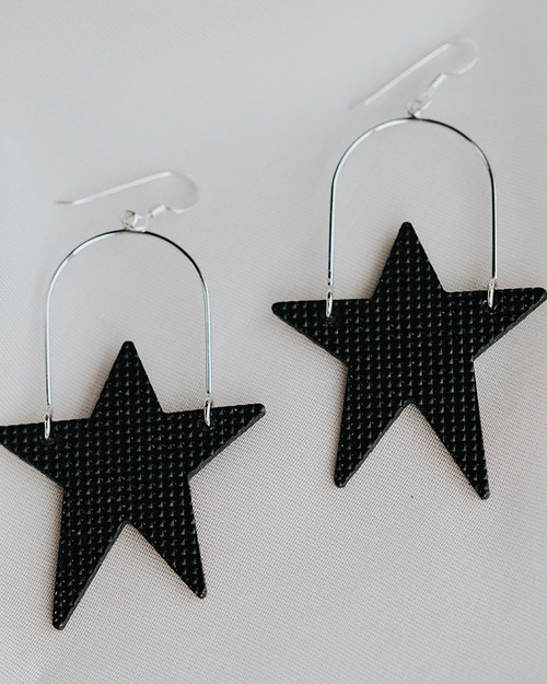 After Glow Superstar Hoop Leather Earring | Nickel and Suede