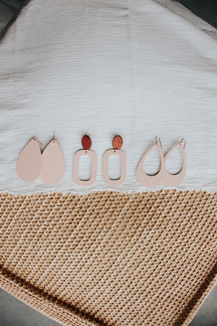 Canyon Coral Cut Out Leather Earring | Nickel and Suede