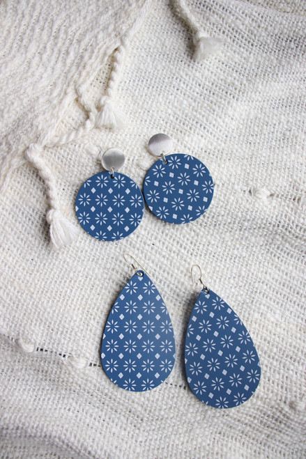 Sedona Cornflower Disc Statement Leather Earrings with Silver Post