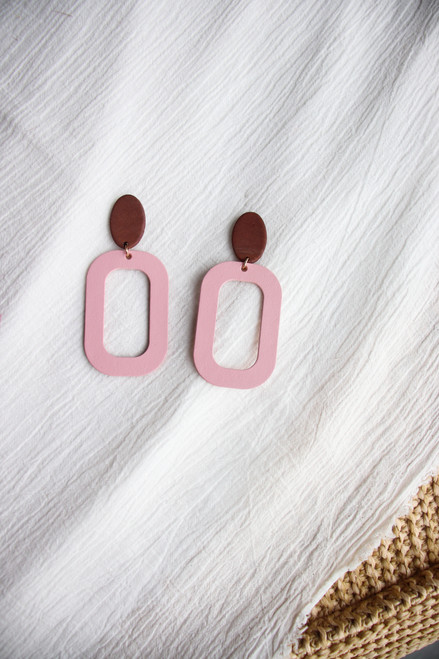 Soft Rose Bloch Leather Earring with Wooden Post