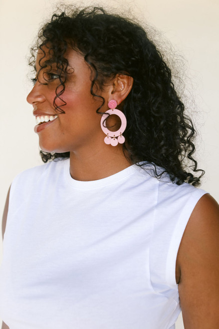 Soft Rose Holland Hoop | Nickel and Suede Leather Earrings