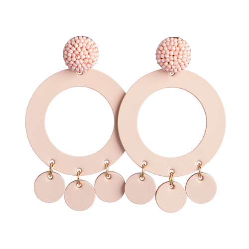Canyon Coral Holland Hoop Leather Earring | Nickel and Suede