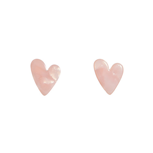 Pink Resin Heart Stud   Nickel and Suede