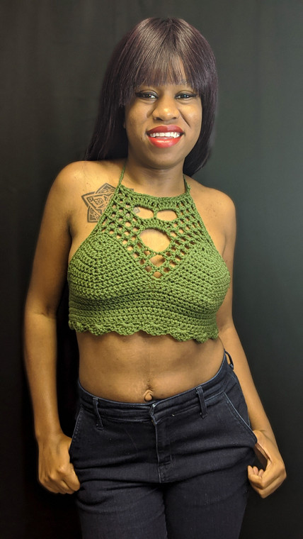 Waist length Crochet Crop Top
